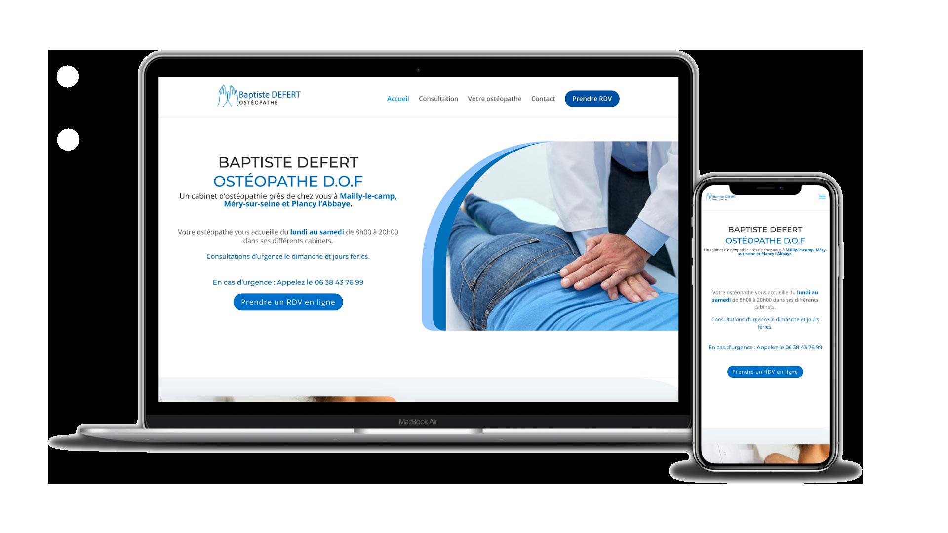 Création site internet - Ostéopathe Defert